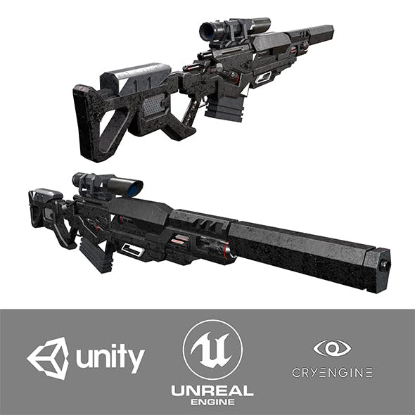 Low-Poly Sci-Fi Sniper Rifle