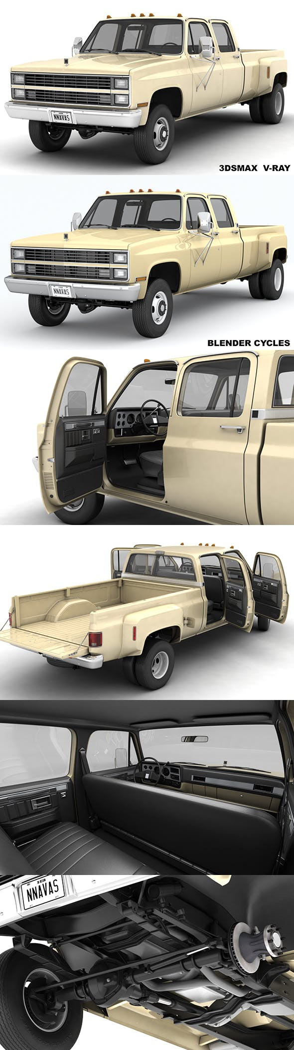 GENERIC 4WD DUALLY PICKUP TRUCK 6 - 3DOcean Item for Sale