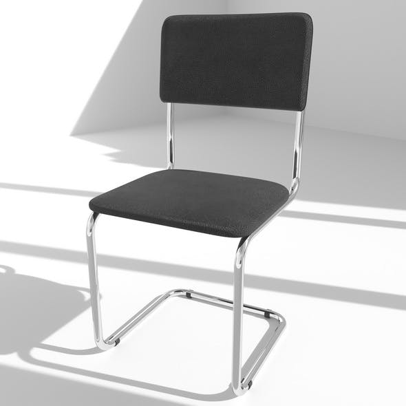 Chair Black Leather Chrome Metal Carcass - 3DOcean Item for Sale