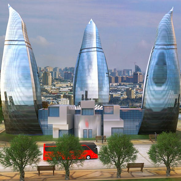 Flame Towers Baku 3D - 3DOcean Item for Sale