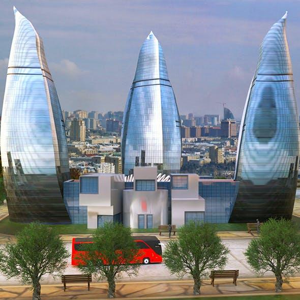 Flame Towers Baku 3D