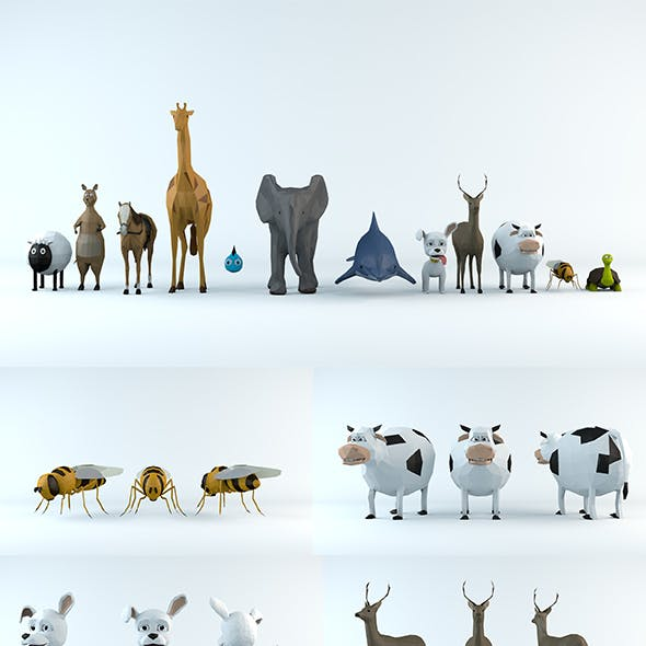 12 pcs Lowpoly Animals