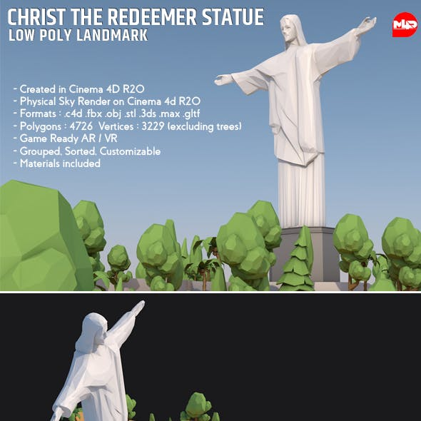 Low Poly Christ The Redeemer Statue Landmark