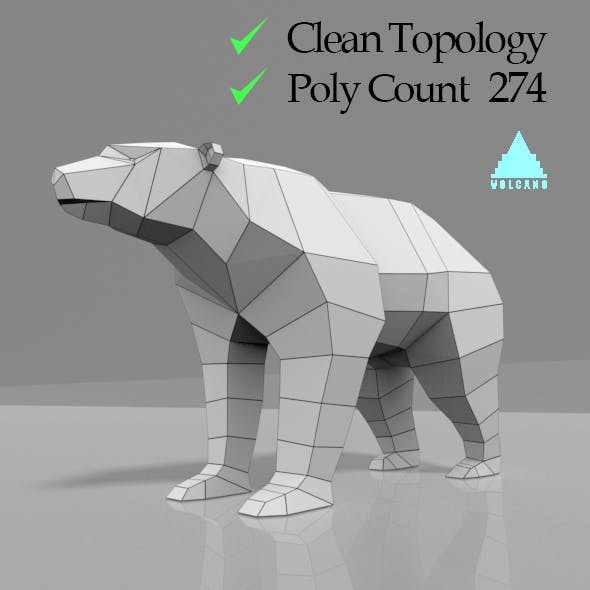 LOW POLY 3D BEAR MESH