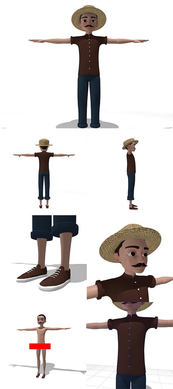 Fisherman Cartoon Character - 3DOcean Item for Sale