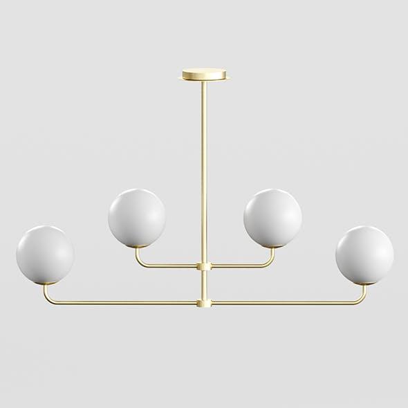 Modern brass and opal glass chandelier, Laredoute MORICIO