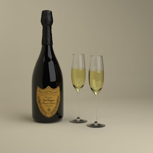 Champagne Dom Perignon Charme D'Irene Vintage 1979 and wineglasses