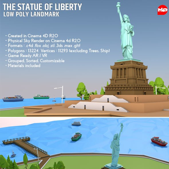 Low Poly The Statue of Liberty Landmark