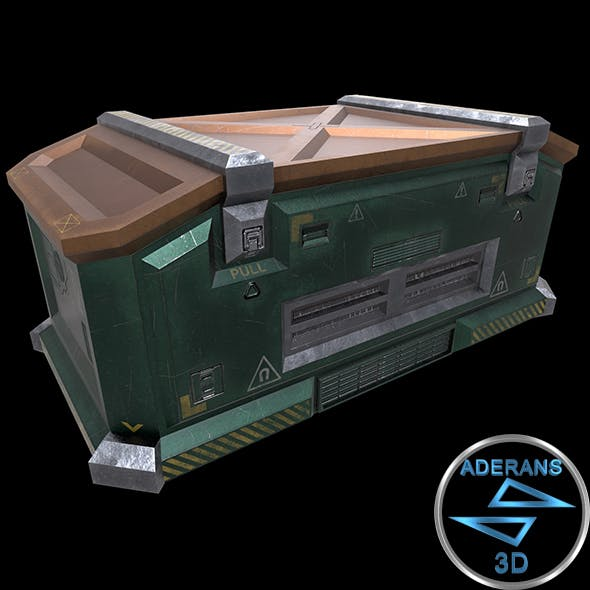 Sci-fi Crate (Container, Box) - Openable Door - Low Poly