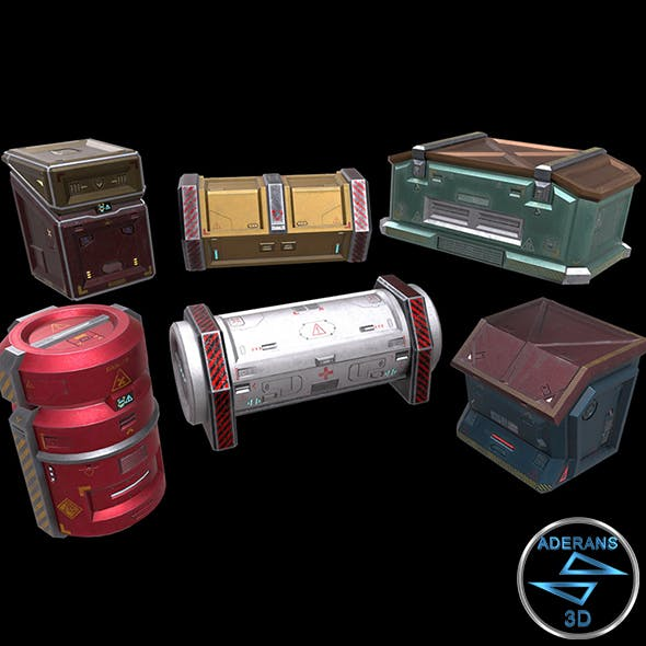 6 Models Sci-fi Crate Pack (Container, Box) - Openable Door - Low Poly
