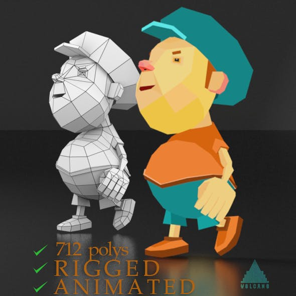 Cartoon boy low poly rigged and animated game character
