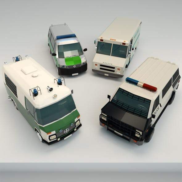 Low Poly Police Van Pack
