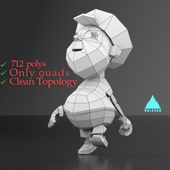 Cartoon boy low poly mesh