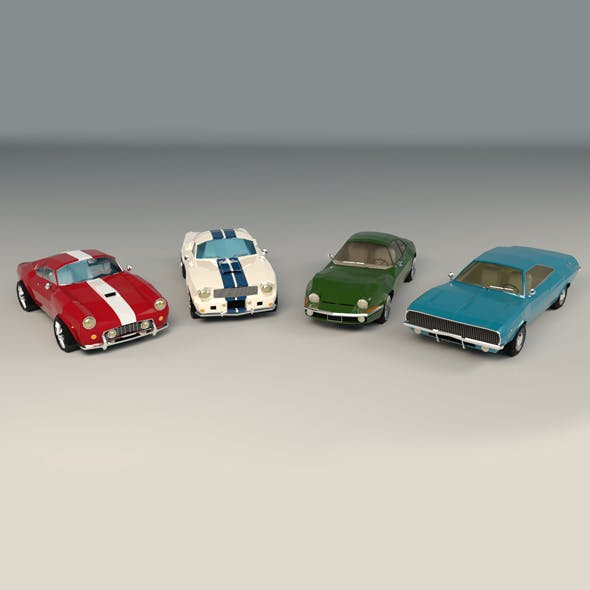 Low Poly Muscle Car Pack - 3DOcean Item for Sale
