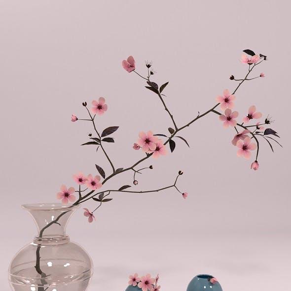 Decorative set - Vase with branch of sakura