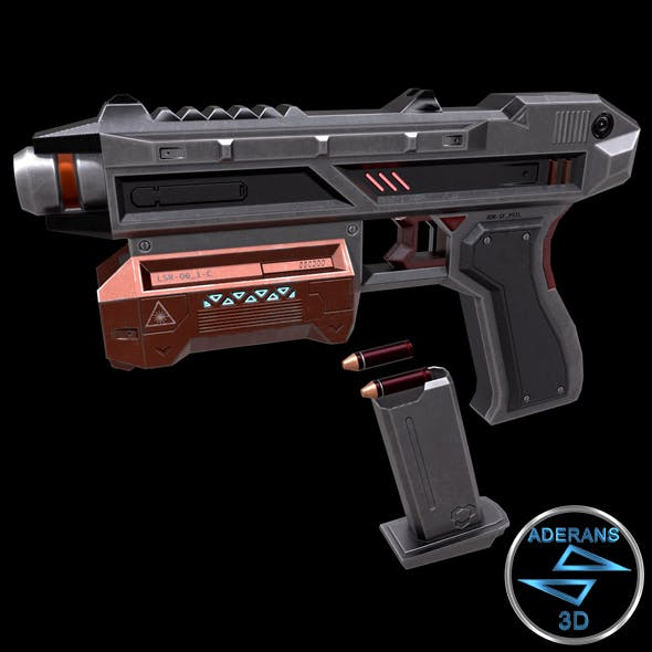 Sci-fi Pistol (Magazine, Bullets, Triger, Eject Button Included) Low Poly