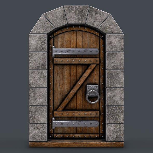 Ancient wooden door(animated) 3d model