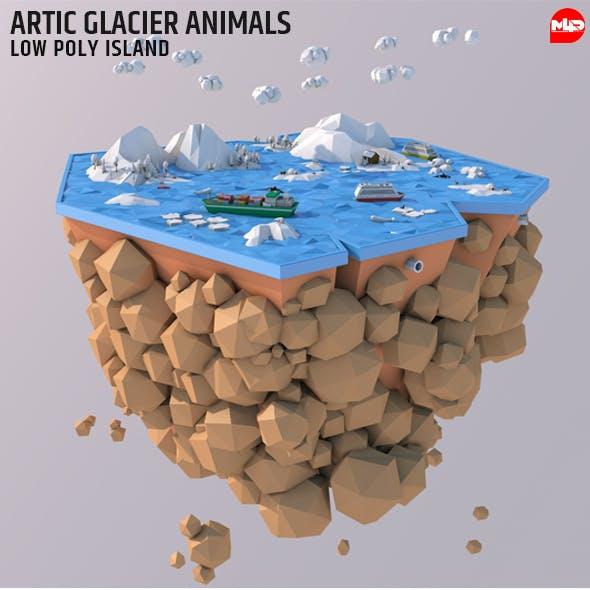 Low Poly Artic Glacier Animals Island