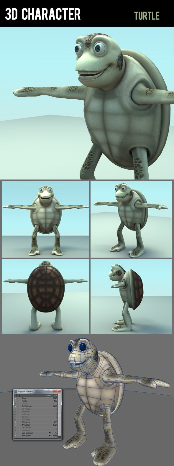 3d character turtle - 3DOcean Item for Sale