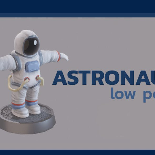 Cartoon low poly astronaut character