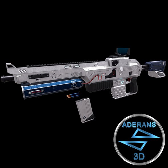 Sci-fi Rifle (Magazine, Bullets, Triger, Eject Button Included) Low Poly