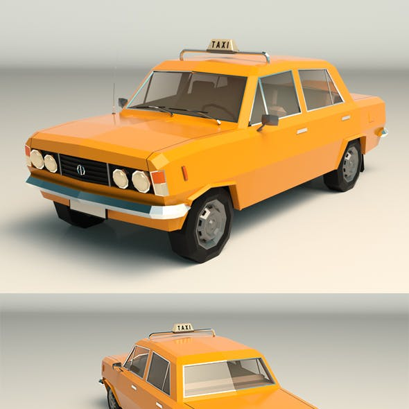 Low Poly Taxi Cab 04