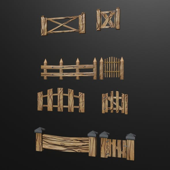 a set of low-poly fences and gates