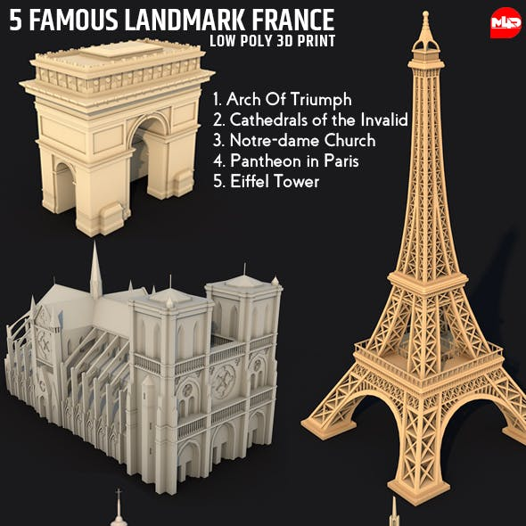 5 Famous Landmark France Sightseeing 3D Print Low Poly