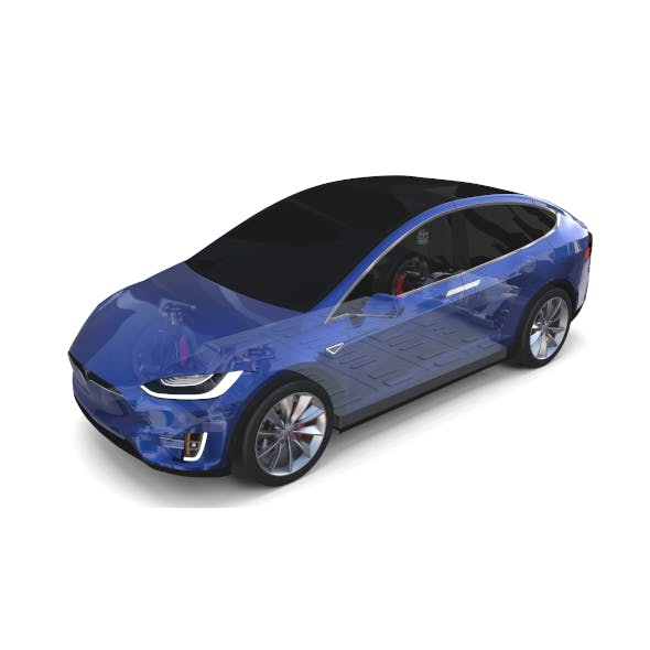 Tesla Model X with Chassis Blue