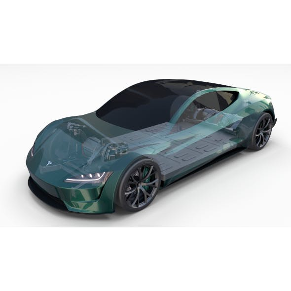 Tesla Roadster Green with Chassis
