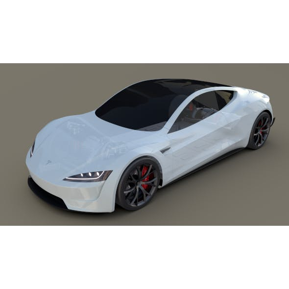 Tesla Roadster White with Chassis