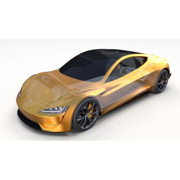 Tesla Roadster Yellow with Chassis