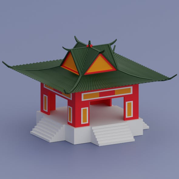 Low Poly old Chinese House - 3DOcean Item for Sale