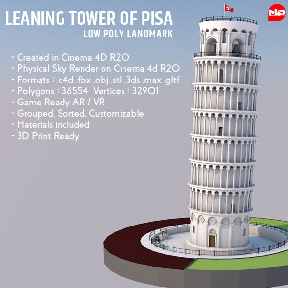 Highly Detailed Low Poly Leaning Tower of Pisa