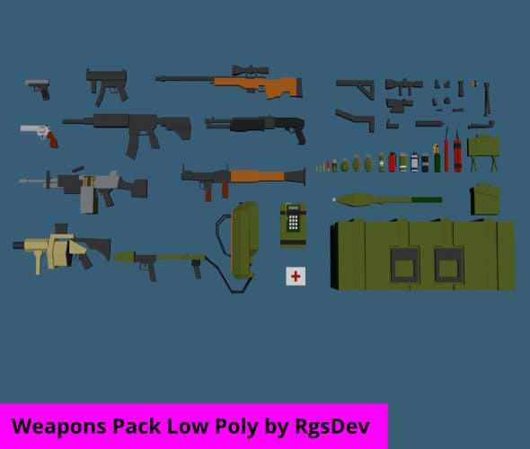 Weapons Pack Low Poly - 3DOcean Item for Sale