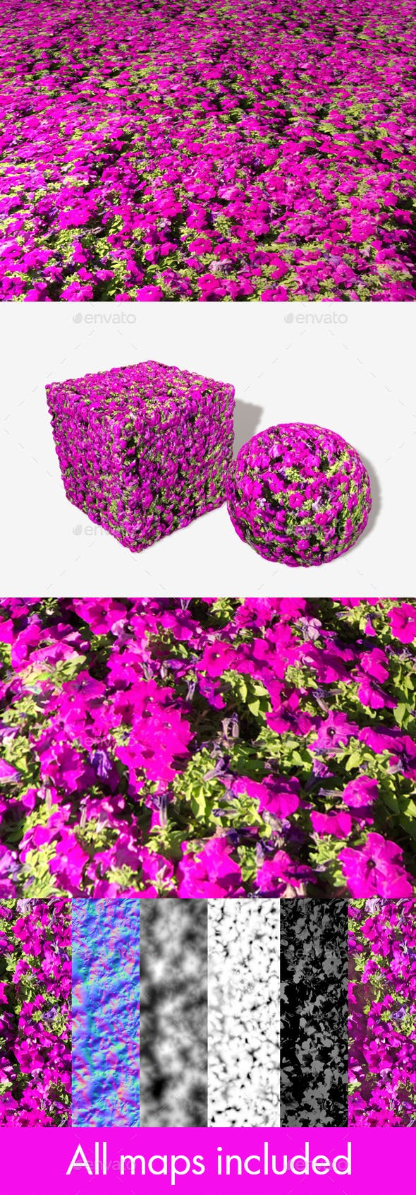 Magenta Flowers Seamless Texture - 3DOcean Item for Sale