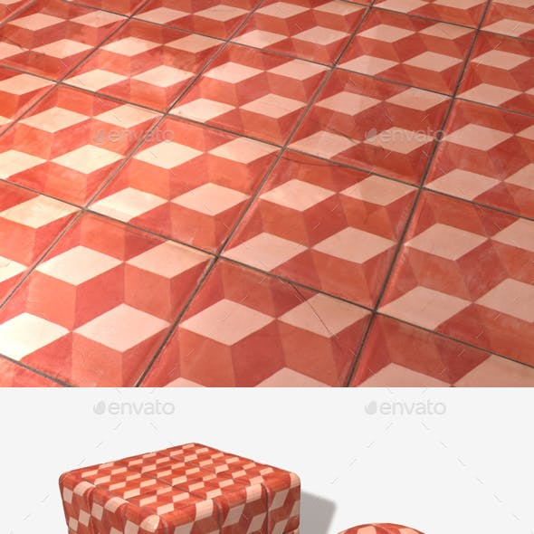 Red Cube Patterned Tiles Seamless Texture