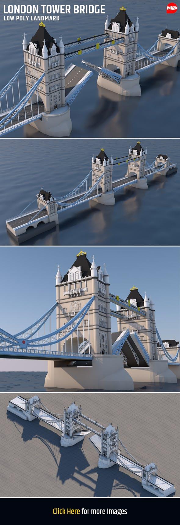 Low Poly London Tower Bridge Landmark - 3DOcean Item for Sale