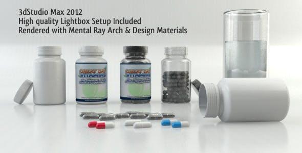Realistic Pill Bottles Including Lightbox Setup - 3DOcean Item for Sale