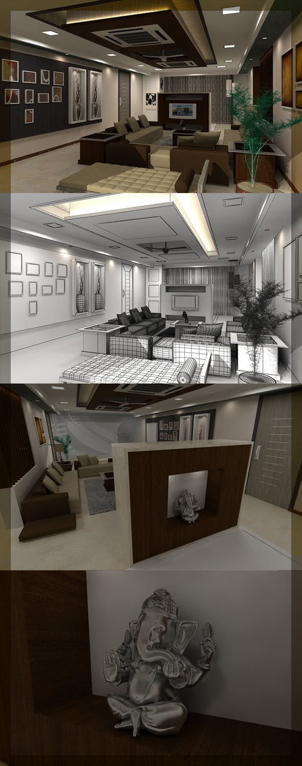 Realistic living Room interior 3D - 3DOcean Item for Sale