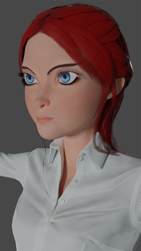 Woman  Cartoon low poly Ready for games - 3DOcean Item for Sale