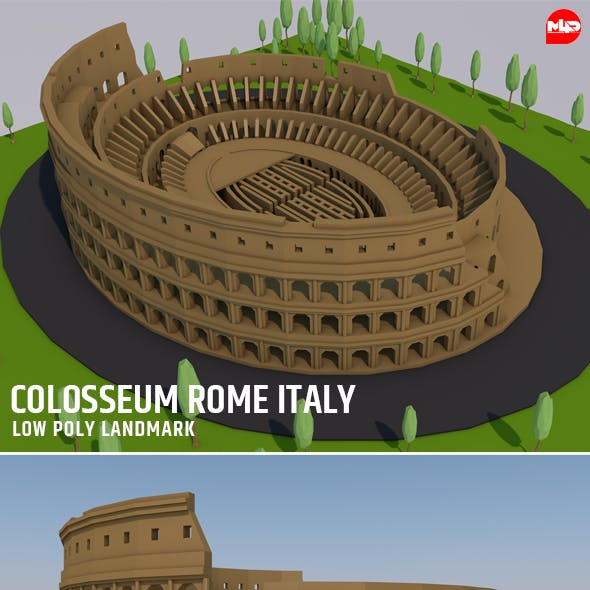 Low Poly Colosseum Rome Italy Landmark