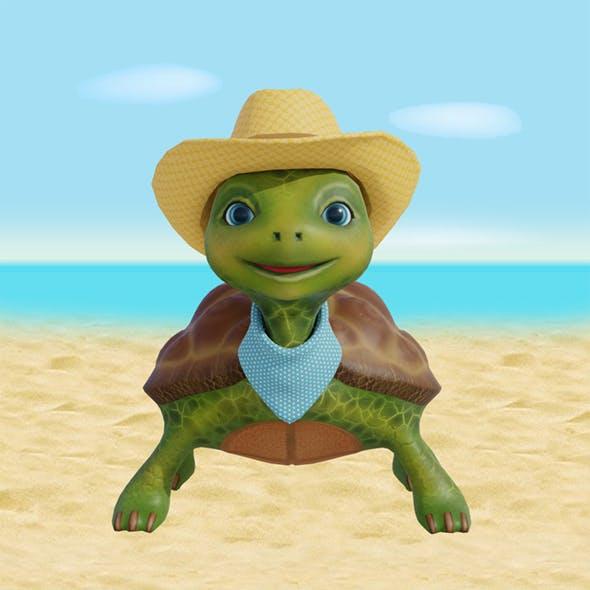 Cartoon turtle cowboy