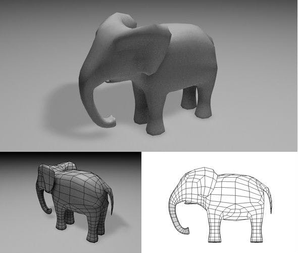 Low-Poly Elephant - 3DOcean Item for Sale