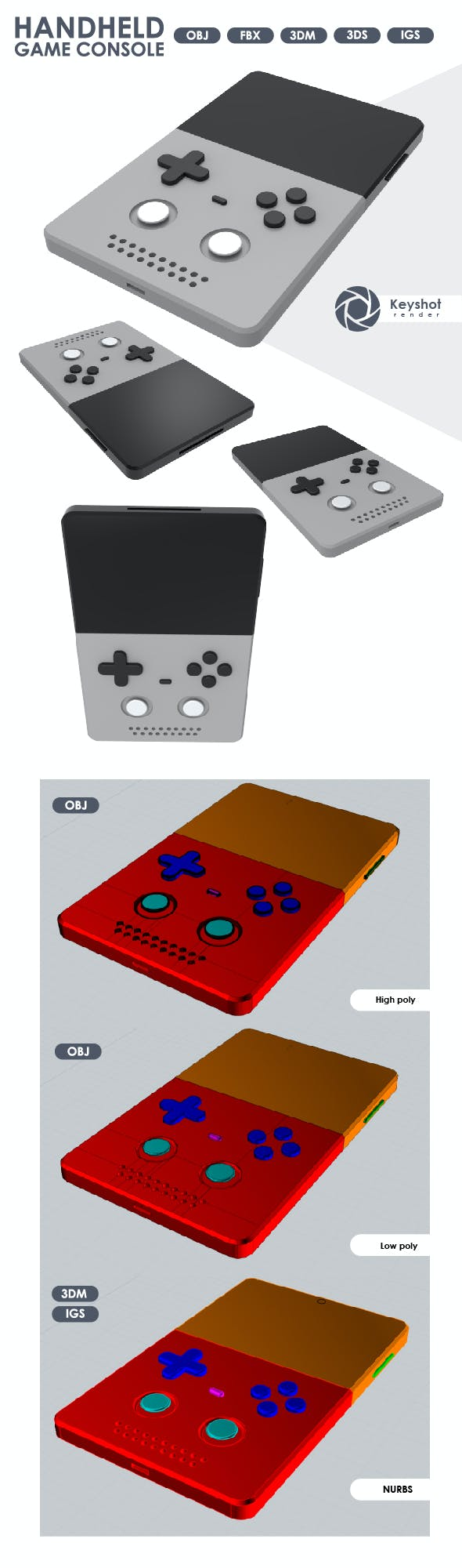 3D Model of a Handheld Console. - 3DOcean Item for Sale