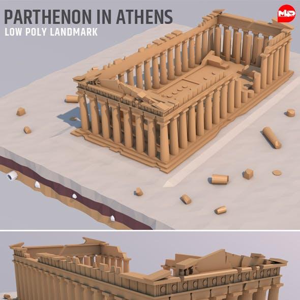 Low Poly Parthenon in Athens Greece Landmark