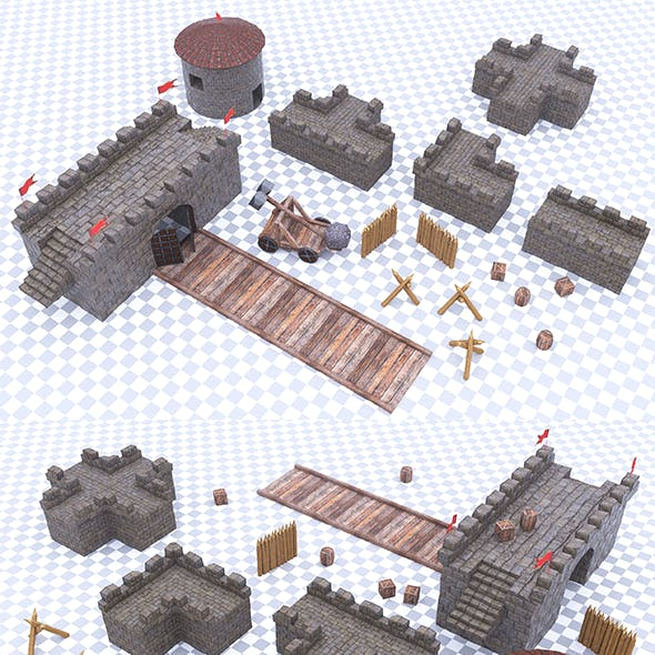 Fortress Castle Constructor Pack - Low-Poly - Game Ready