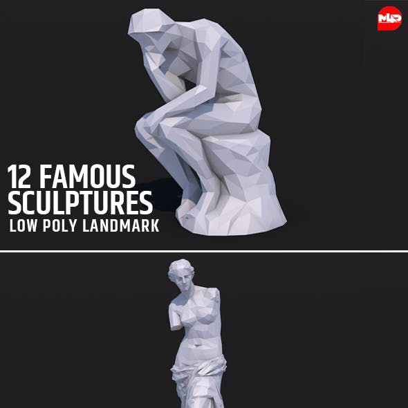 12 Famous Sculptures Landmark in the World Low Poly