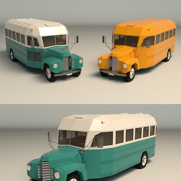 Low Poly Vintage Bus 01