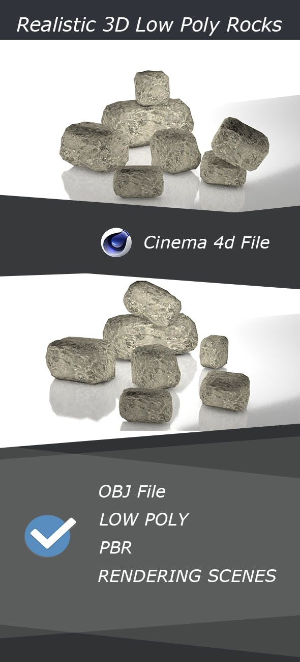 Realistic Low Poly 3D PBR Rocks - 3DOcean Item for Sale